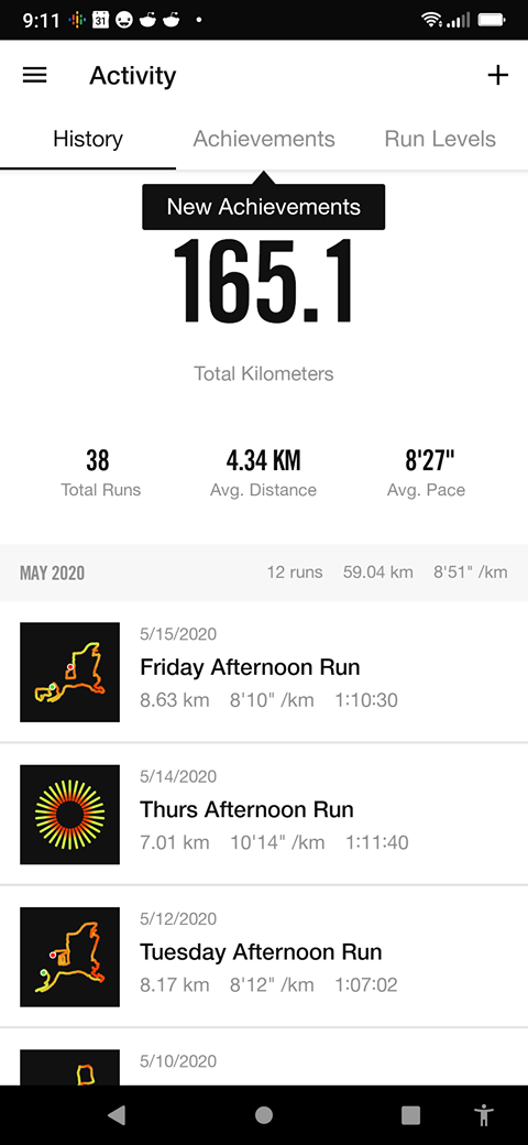 Personal Running Record