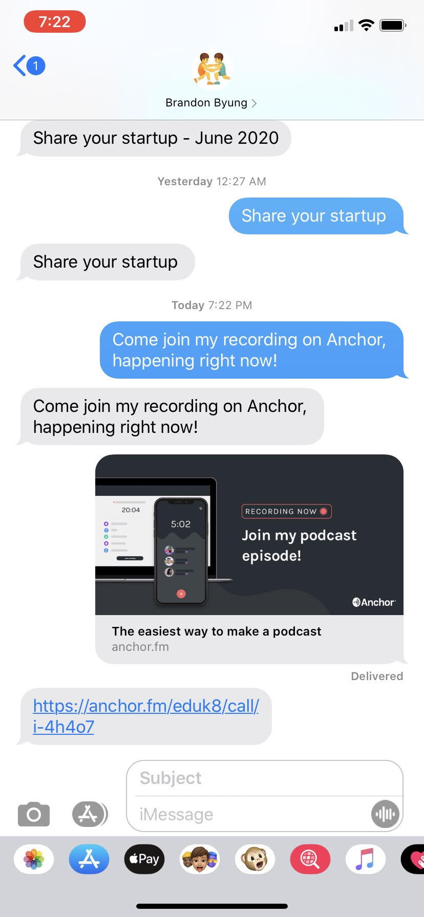 anchor app - interviewee iphone text - step 1